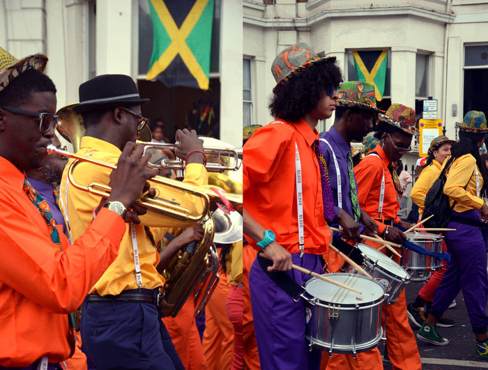 Notting Hill Carnival Architecture City Colorful Colours Crowd Day Drums Fun Hats Mask - Disguise Medium Group Of People Musician National Flag Notting Hill Nottinghill Carnival Outdoors Party In The Street Standing Street Suit