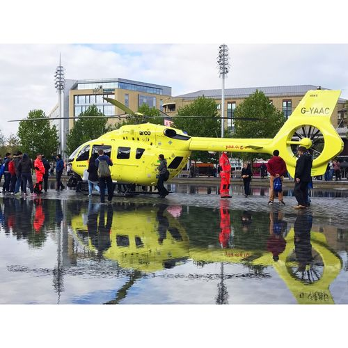 Bradford 20/10/2016 Wet Rain Real People Transportation Helicopter Air Ambulance  IPhoneography