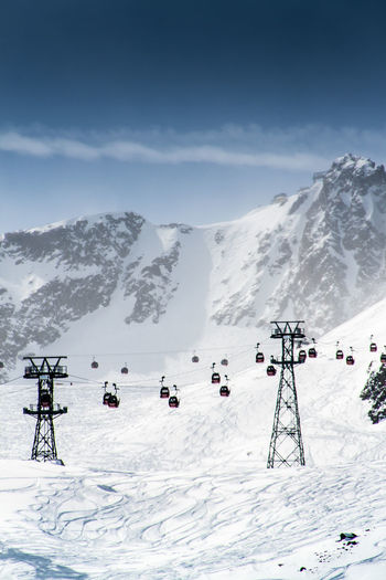 Overhead cable cars at snowcapped mountain against sky