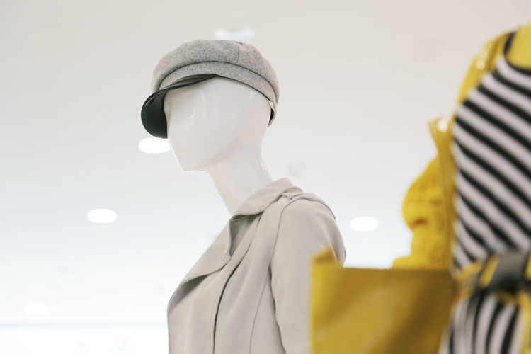 Low angle view of mannequin in store