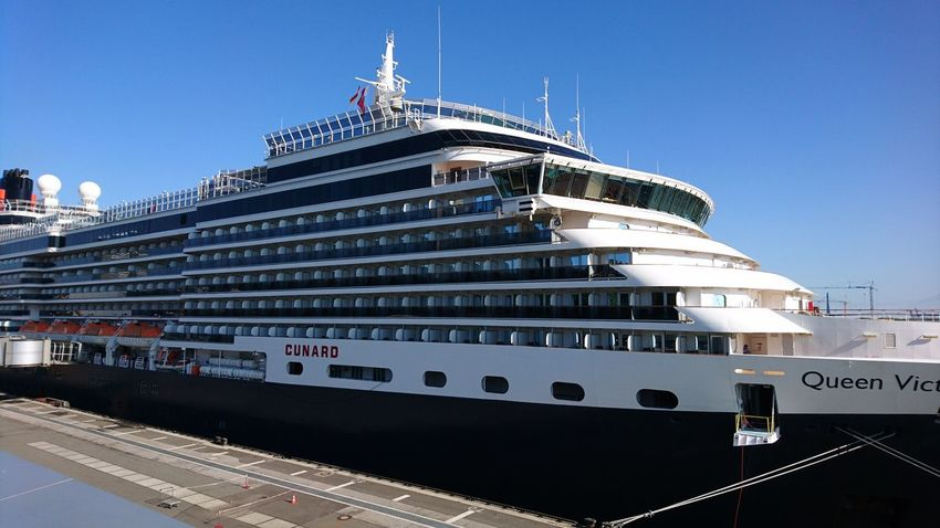 Queen Victoria. Hamburg Germany Hh Cruise Center Kreuzfahrtschiff Kreuzfahrt Cruise Cruise Ship Cunard Queen Victoria  Boat Port Elbe Elbe River Transportation Blue Sky Decks Construction Politics And Government Nautical Vessel Luxury Business Finance And Industry Ship Sea Sky