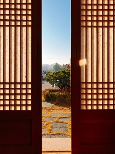 Hanok Korean-style House Gyungju Trip Korea Door Morning Sky Architecture Built Structure Day Building Sunlight