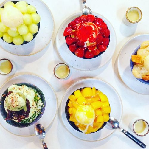 Food And Drink Ready-to-eat Food Freshness High Angle View Serving Size Plate Indoors  Bowl No People Bingsu Dessert Ice Cream Sweet
