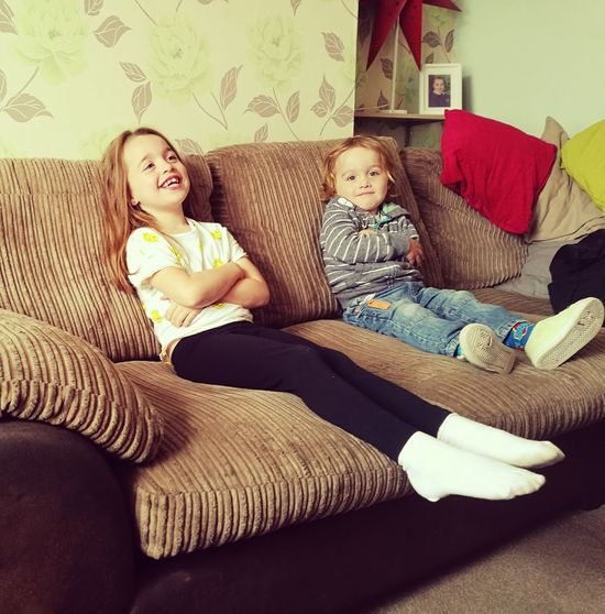 Double trouble Indoors  Sofa People Living Room Child Looking At Camera Smiling Day Love Daughter Son Laughter Brother And Sister SiblingsLove❤ Portrait
