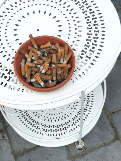 High angle view of cigarette in bowl on table