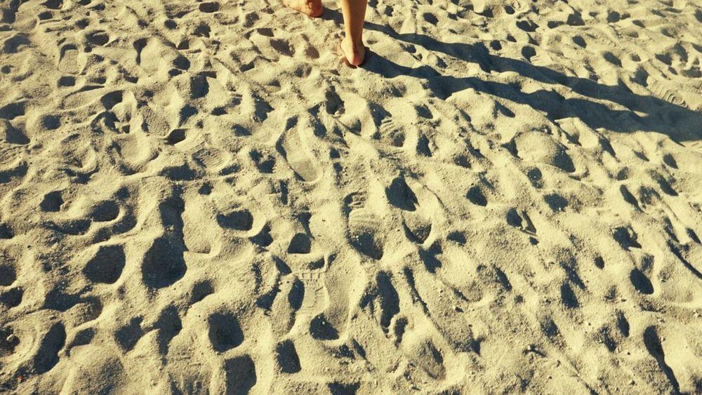 Sand , texture, Beach Shadow Lifestyles Outdoors Human Body Part One Person Miles Miles Miles Miami Beach forward, Day Aheadfullofdreams