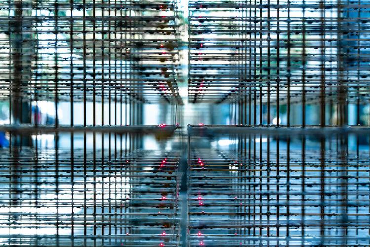 Full frame shot of modern framework grid
