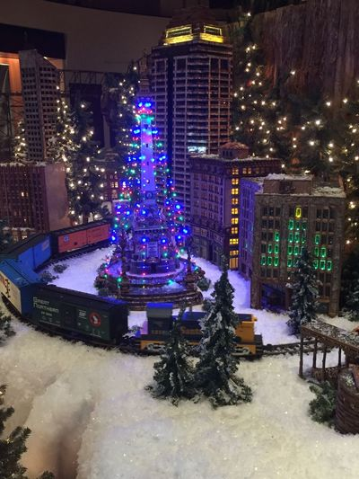 Jingle rails display at etiljorge museum in Indianapolis. Toy Trains Miniature Downtown Indy Jingle Rails