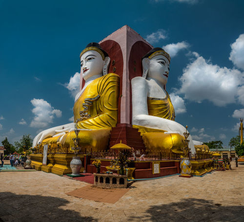 Bago, Myanmar Four Faces of Buddha at Kyaik pun Buddha Ancient Archaeology Architecture ASIA Bago BIG Buddha Buddhism Culture Famous Four Kyaik Pun Pagoda Landmark Landscape Myanmar Pagoda Place Praying Religion Sitting Statue Stupa Temple Travel Worship