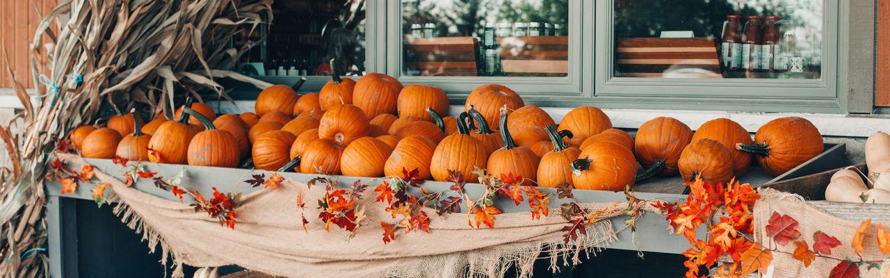 Pumpkins for sale at market stall