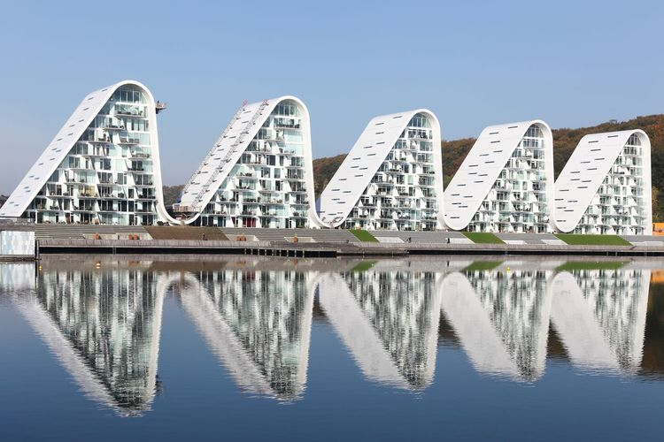 Wawes Water Reflection Architecture Built Structure Waterfront Clear Sky Sea Seascape Vejle Fjord Danish Denmark Jutland Travel Destinations Building Exterior Scandinavia Wawe Building