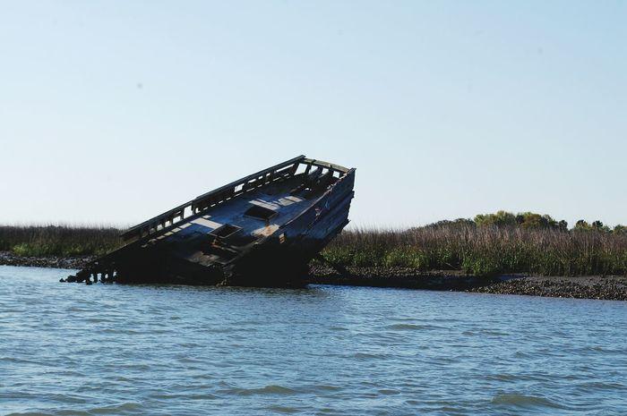 Folly Beach, South Carolina Boat Wrecked Boat. Water