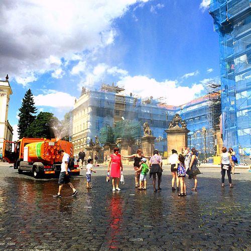 Prague Summer Heat Water Shower Czech Republic Colour Red Dress