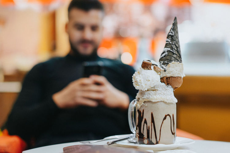 Frappe Focus On Foreground Dessert Ice Cream Icecream Ice Cream Cone Sweet Food Food Food And Drink Table Close-up Prepared Food Served Cupcake Pastry