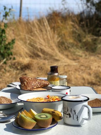 Camping Strand Emaille Vanlife Camping Holland Food And Drink Food Freshness Table Plate Breakfast Meal No People Bread Healthy Eating Day Fruit Drink Focus On Foreground Cup Wellbeing Refreshment Nature Baked SLICE