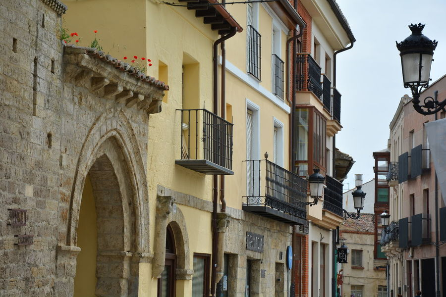 Arch Architectural Column Architecture Building Building Exterior Built Structure City City Life Day Exterior Façade Flowers Historic Low Angle View No People Outdoors Poppies  Red Residential Building Residential Structure Sky Street Light Adapted To The City