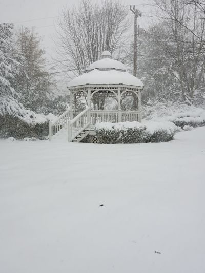 Built structure on snow covered land