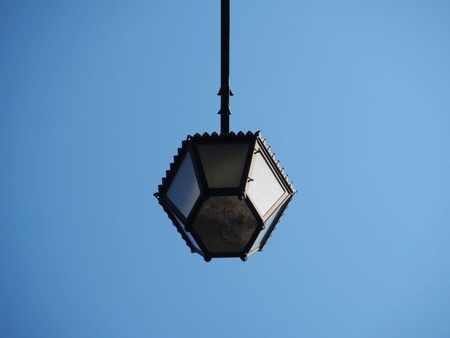 Streetlamp from below. City Lines Streetlamp Abstract Architecture Blue Clear Sky Day Lamp Lighting Equipment Low Angle View Monochrome No People Outdoors Sky Street Streetlight Symmetry Urban Colour Your Horizn