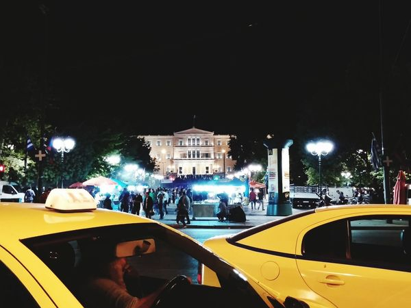 City City Life Syntagma Square Square Taxi Taxicab Yellowcab Athens, Greece Greek Parliament Parliament citybynight #The Street Photographer - 2015 Eyem Awards Mobility In Mega Cities Stories From The City