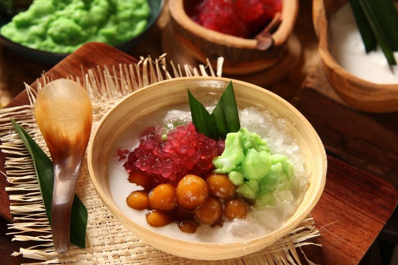 Es Loder Indonesian Food INDONESIA Bogor Es Loder Colorful Homemade Snack Food Dessert Crushed Ice Coconut Milk Tapioca Rice Ball Palm Sugar Glutinous Rice Rice Custard Food And Drink Table No People Indoors  Still Life Ready-to-eat Serving Size Focus On Foreground Sweet Food