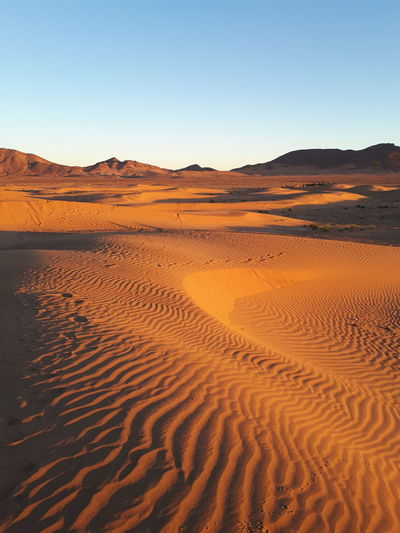 Scenic view of desert against clear sky, morocco