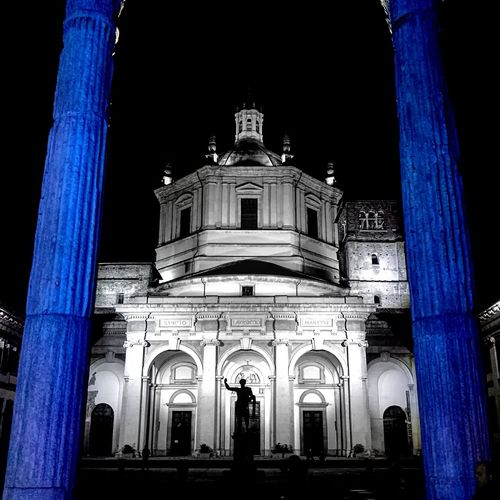 Architecture Built Structure City Architectural Column Façade Low Angle View Night Sky No People Outdoors Clock Milano First Eyeem Photo Colonne San Lorenzo Milano n
