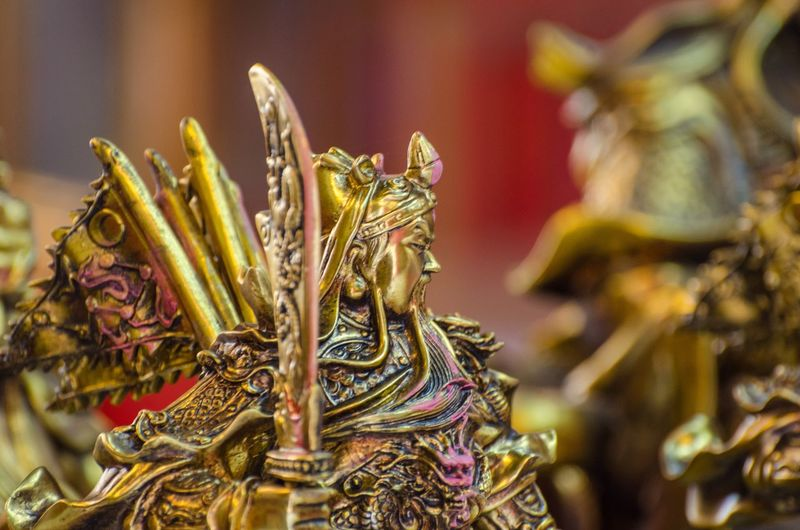 Close-up of golden sculpture