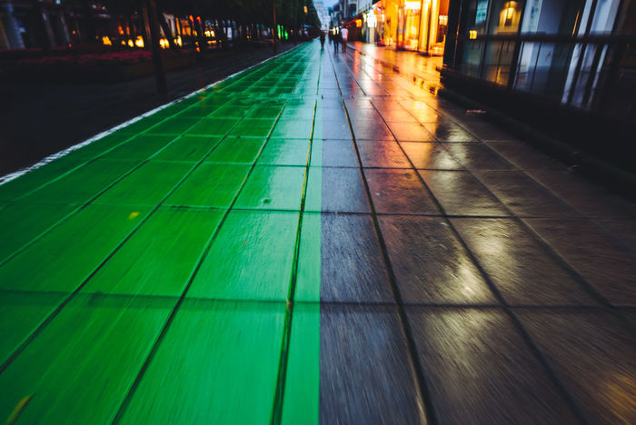 Green Lane Bicycle Lane Lietuva City City Lights Close-up Green Landscape Illuminated Motion Motion Effect Night No People Outdoors Track