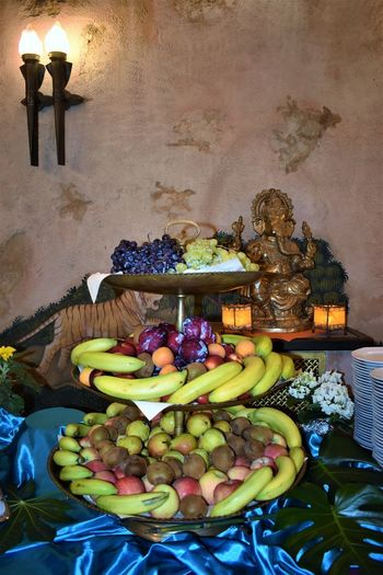 Altar Architecture Banana Belief Candle Choice Food Food And Drink Freshness Fruit Healthy Eating High Angle View Illuminated Indoors  Large Group Of Objects Lighting Equipment No People Obst Religion Spirituality Variation Wellbeing
