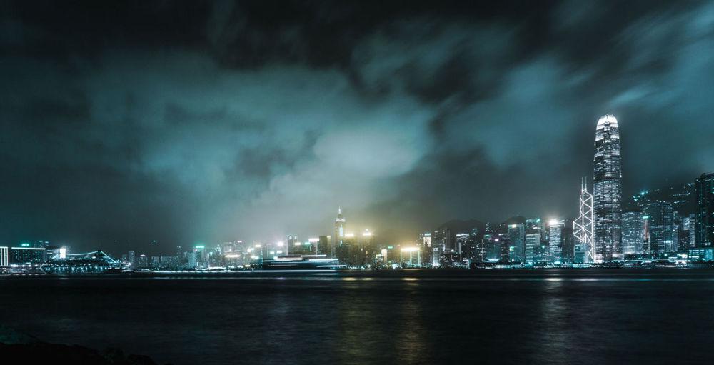 Building Exterior Cityscape Clouds HongKong International Landmark Nightphotography Sea Sky