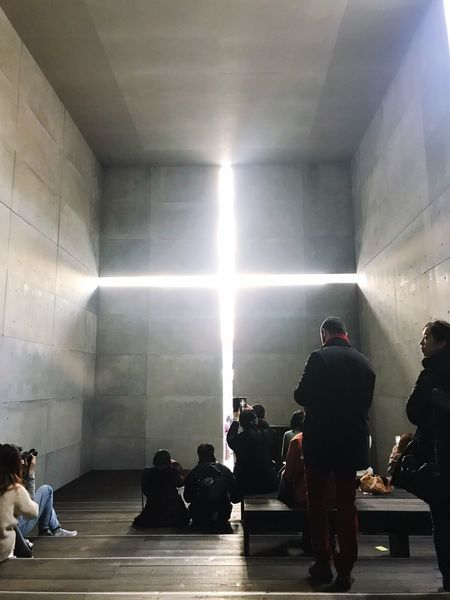 TADAO ANDO Church Ando Tadao Real People Men Indoors  Leisure Activity Large Group Of People Lifestyles Full Length