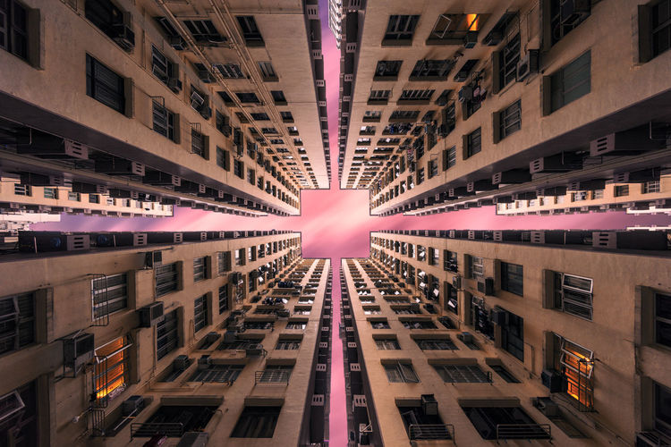 Lookup Architecture Architecture_collection Bedford Garden EyeEm EyeEm Best Shots EyeEm Gallery EyeEmBestPics EyeEmNewHere Hong Kong Architecture Apartment Arch Architectural Column Architecture Building Building Exterior Built Structure City Digital Composite Directly Below Eye4photography  Fancy Glowing Illuminated Lens Flare Lookup Low Angle View Nature No People Outdoors Pattern Pink Color Reflection Sky Skyscraper Sunlight Symmetry Window