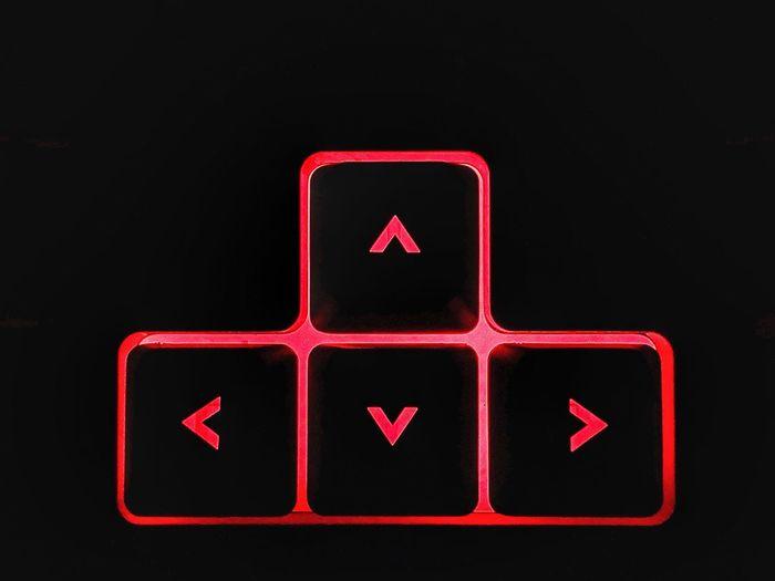 Keyboard keys Aerrows Keys Keyboard Red Communication Sign Guidance Close-up No People Illuminated Symbol Information Sign Direction Technology Arrow Symbol