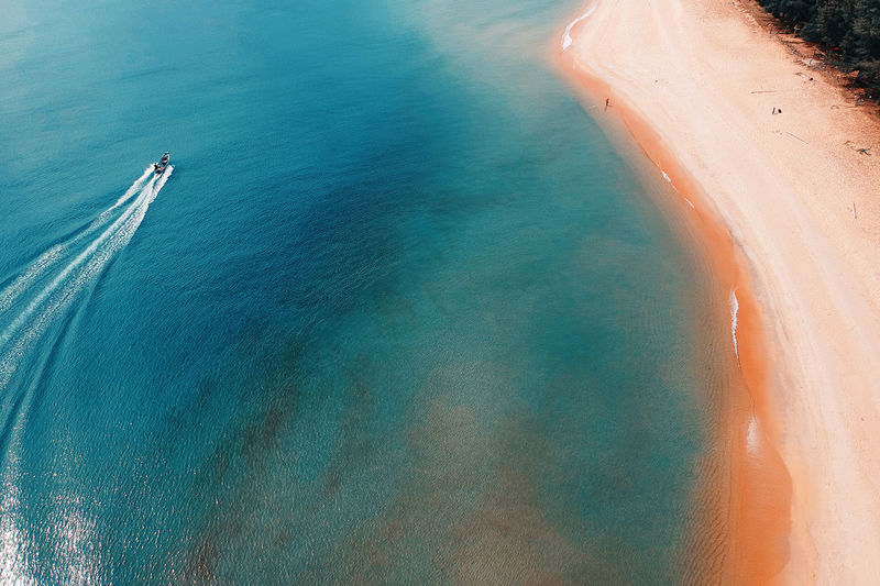 High Angle View Of Boat In Sea