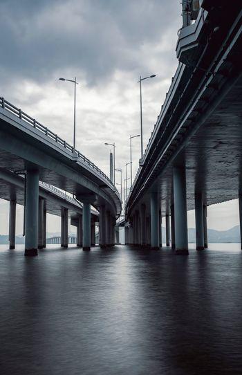 Architecture Built Structure Sky Bridge - Man Made Structure Bridge Architectural Column Connection Transportation Water Nature River City Low Angle View