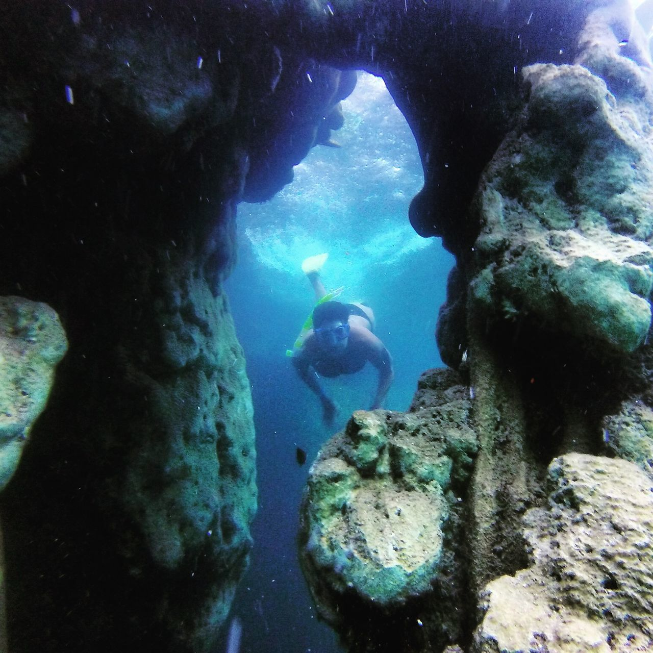 underwater, undersea, exploration, adventure, scuba diving, swimming, real people, rock - object, water, scuba diver, one person, nature, sea life, sea, men, beauty in nature, day, people