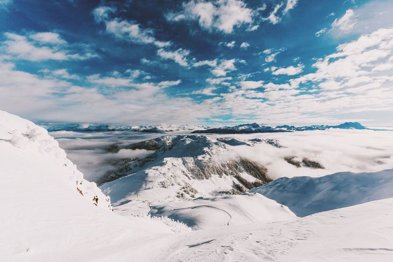 Long way down Beauty In Nature Landscape Sky Winter Snow Outdoors Nature Ice Light Mountain Lost In The Landscape