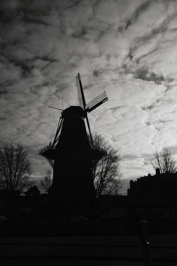 Molen De Gooyer, brouwerij 't IJ, Amsterdam, Holland Traditional Windmill Windmill Silhouette Cloud - Sky Sky Architecture Wind Power Outdoors No People Day Alternative Energy Black & White Architecture Blackandwhite Photography Sustainable Resources City Wind Power Blackandwhite Amsterdam Holland