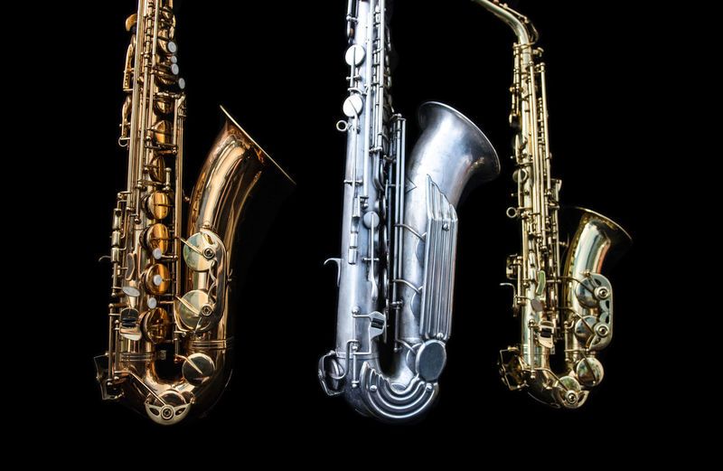 Three saxophones. Sax Arts Culture And Entertainment Black Background Brass Brass Instrument  Clean Close-up Gold Colored Indoors  Jazz Music Metal Music Musical Equipment Musical Instrument No People Saxophone Silver  Size Still Life Studio Shot Three Three Objects Wind Instrument