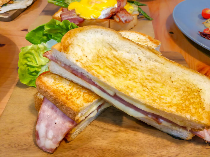 Panini ham and cheese, Italian delicious fast food. A panini or panino is a grilled sandwich made from bread other than sliced bread. Bacon Bread Breakfast Cheese Close-up Food Food And Drink Freshness Grilled Healthy Eating Italian Food Meal Meat Panini Panino Pork Ready-to-eat Sandwich Still Life Table Toasted Bread Tray Vegetable Wellbeing Wooden