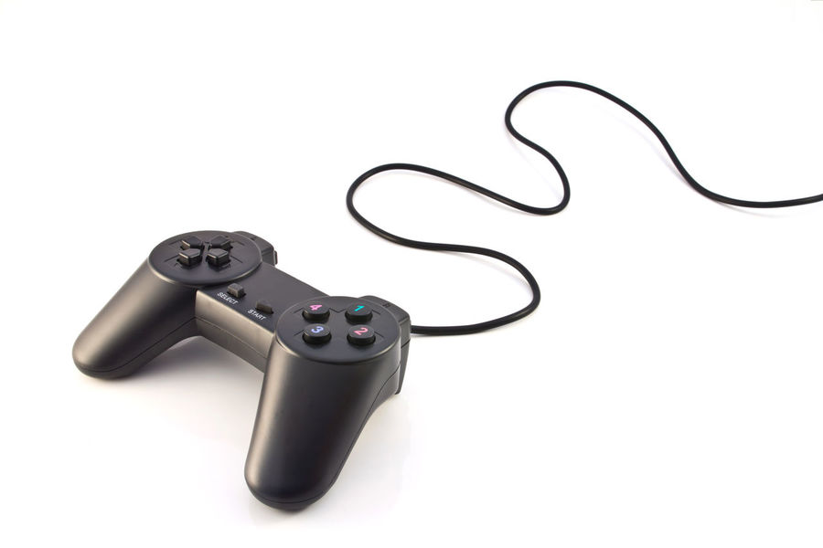 black game controller isolated on white background Activity Arrow Backgrounds Button Cable Close-up Computer Console Control Entertainment Equipment Fun Game Gamepad Gray Isolated Joypad Joystick Keypad Leisure Play Recreational; Stick Technology Toy BYOPaper!