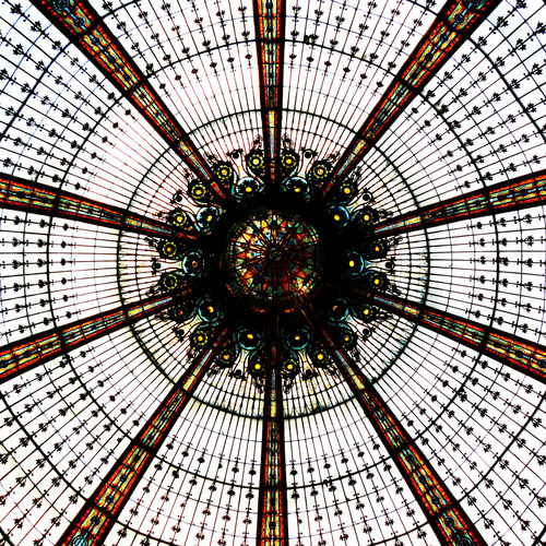 Galeries Lafayette Glass Roof Paris Architectural Design Architecture Backgrounds Built Structure Ceiling Coloured Glass Bottles Concentric Day Dome Full Frame Glass Dome Indoors  Low Angle View Modern No People Roof