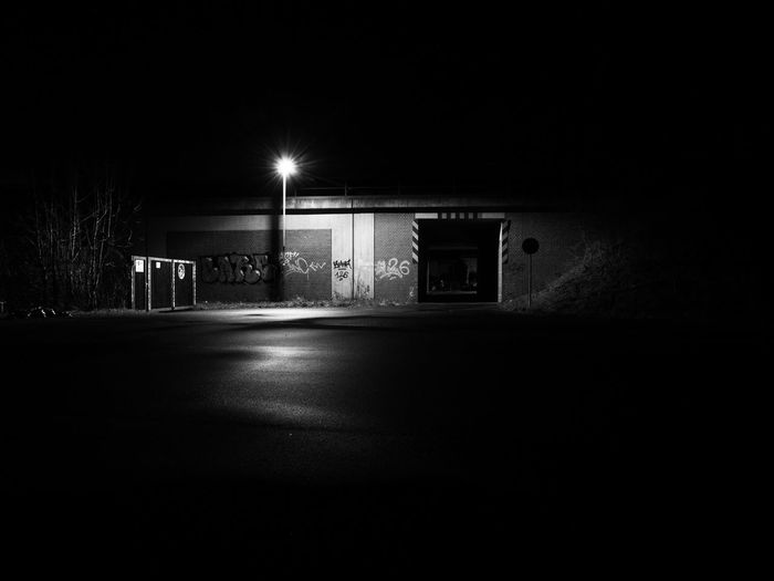 Buir bei Nacht - Unterführung Night Illuminated Architecture Built Structure Building Exterior Dark No People City Transportation Lighting Equipment Copy Space Absence Street Road Empty Building Spooky Outdoors Nature Sign