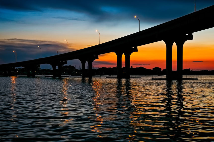 Francis and Mary Usina Bridge, St Augustine, FL St Augustine Florida St Augustine, FL Architecture Beauty In Nature Bridge Bridge - Man Made Structure Built Structure Cloud - Sky Connection Highway A1A No People Orange Color Outdoors River Silhouette Sky St Augustine Sunset Suspension Bridge Tolomato River Travel Destinations Usina Bridge Water Waterfront