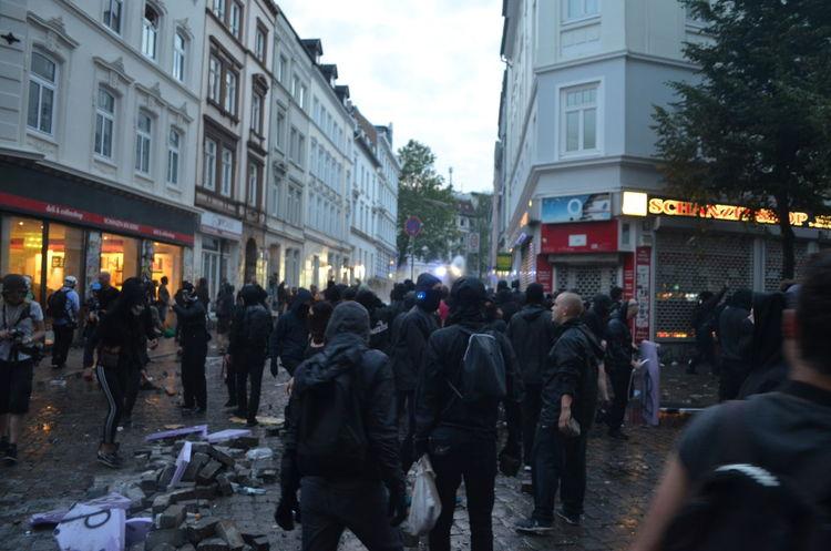 Black Bloc in Hamburg (Sternschanze) at G20 Summit Violence Demonstrators Demonstrations  Demonstration Riot Gear Riot Police Riot Antifa Black Bloc Barricade G20 Protest G20 Sternschanze G20 Hamburg G20 Meeting G20 Gipfel G20 Summit