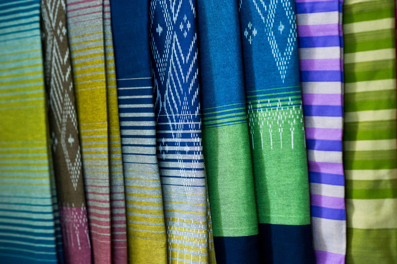 Full frame shot of multi colored textile in market