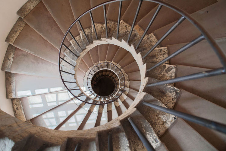 Directly above shot of spiral stairs