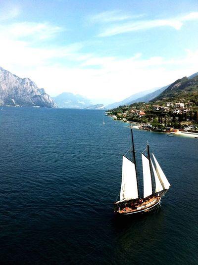 Sailboat Lake Garda Italy Mountain Water Tranquility
