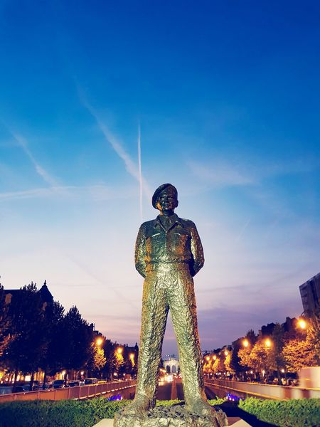 Sky One Man Only Night History Full Length Only Men Statue People Standing Outdoors Illuminated Blue Architecture One Person Adults Only Adult Lost In The Landscape Benjamin Decraene The Week On EyeEm EyeEmNewHere Statues And Monuments Statue