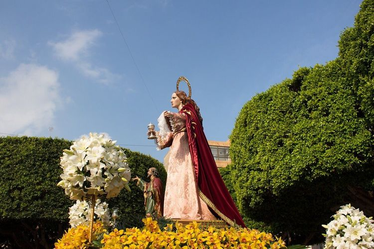 Religion Human Representation Statue Almoradi Easter Art And Craft Tree Sky Low Angle View Cloud - Sky Outdoors No People Day Nature Growth Flower
